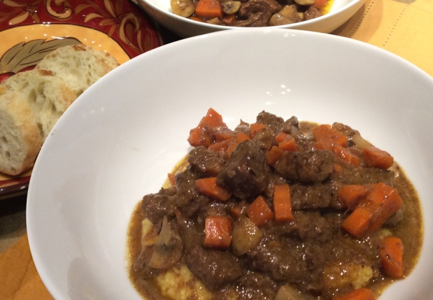 Cognac and Beef Stew with Polenta