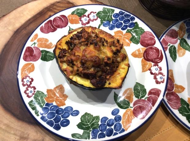 Soyrizo (Soy Chorizo) stuffed AcornSquash