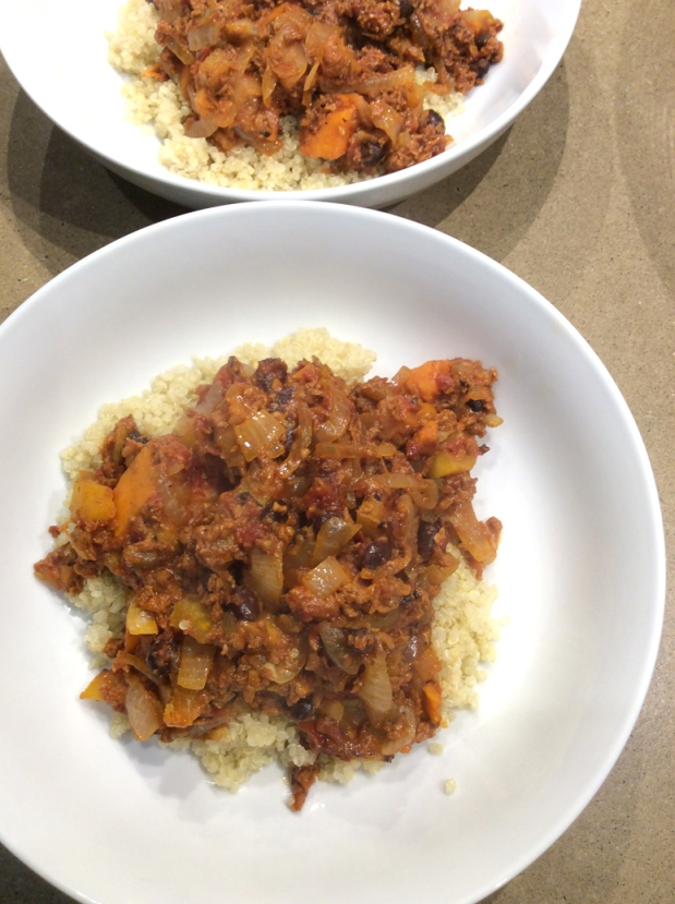 Soy Chorizo, black bean & sweet potato skillet
