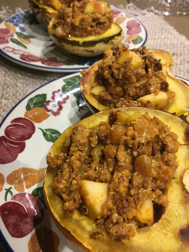 Soy Chorizo & Fruit Stuffed Acorn Squash