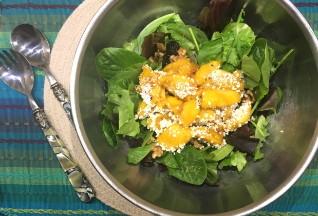 Grilled Peach Salad with Proscuttio, Walnuts and Goat cheese