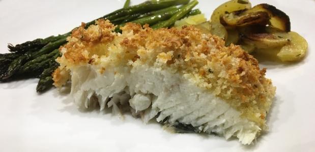 Parmesan-Panko Crusted Halibut